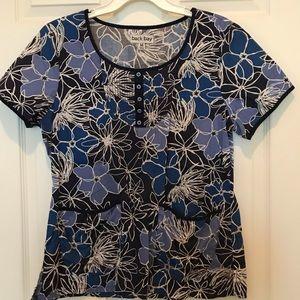 Blue Floral scrub top